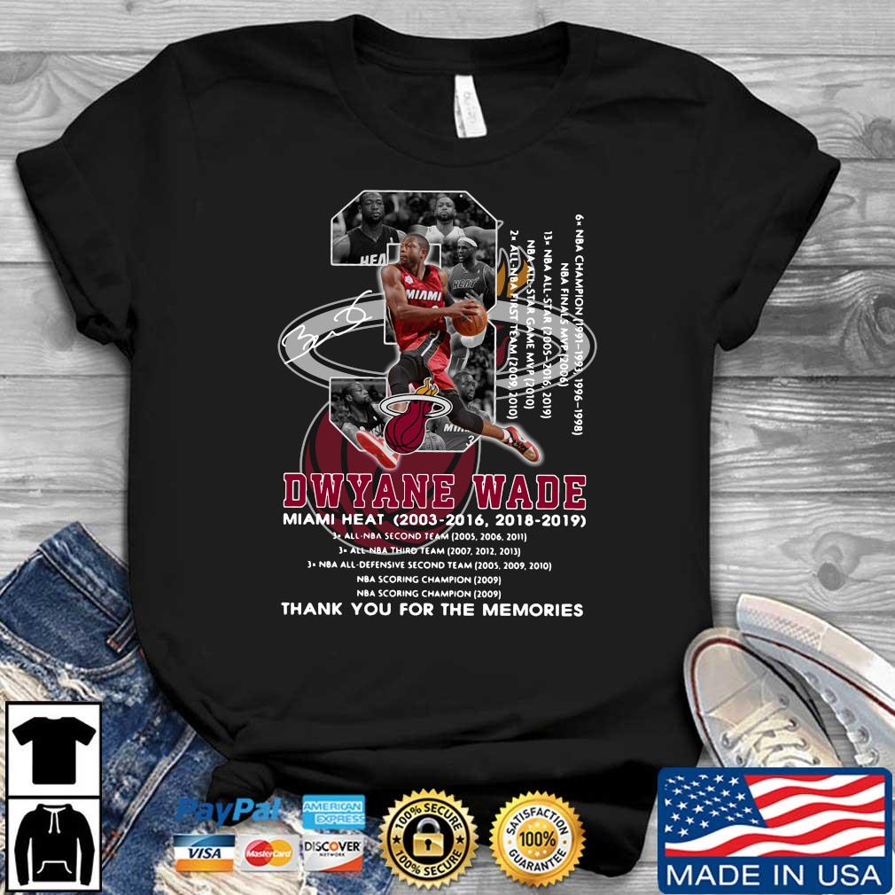 Dwyane Wade 3 Miami Heat 2003-2016 1018-2019 thank you for the memories signature shirt