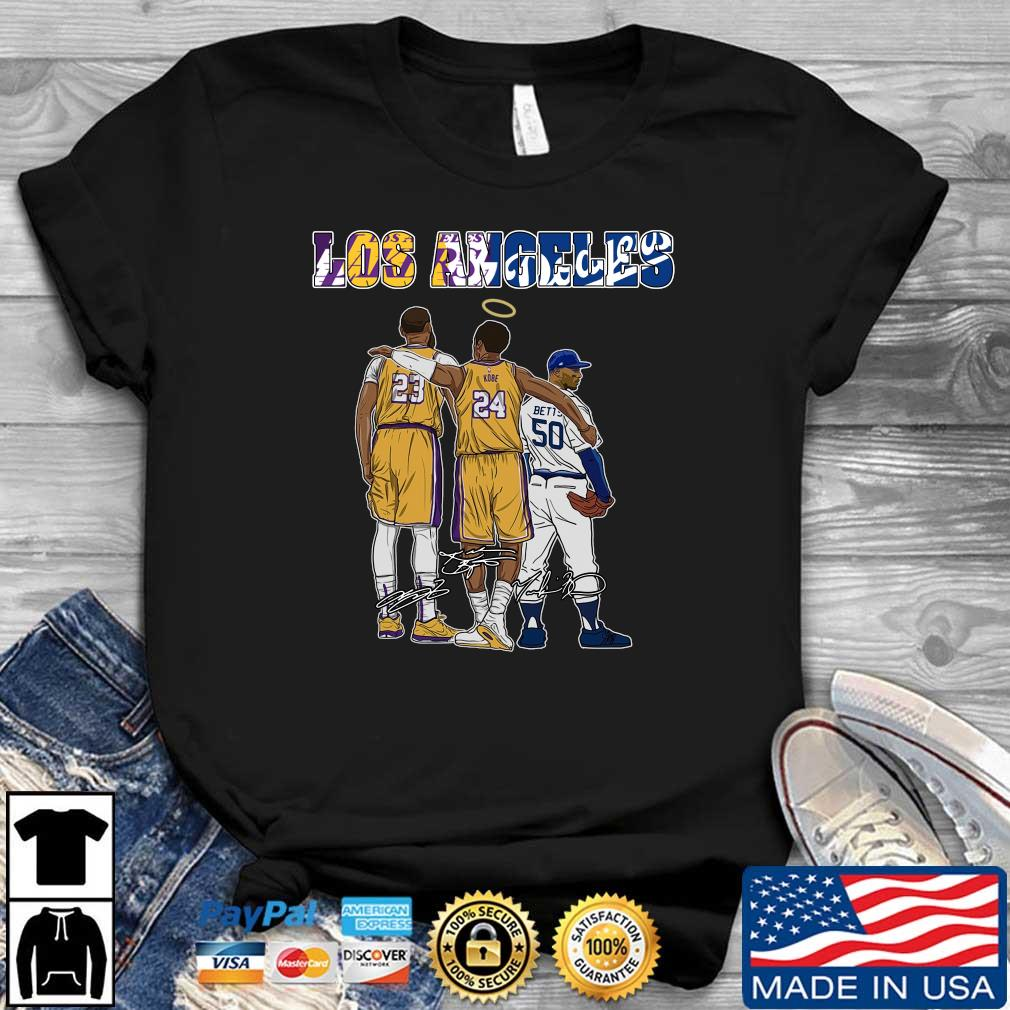 Los Angeles Sports Los Angeles Lakers and Los Angeles Dodgers Kobe Bryant LeBron James and Mookie Betts signatures shirt