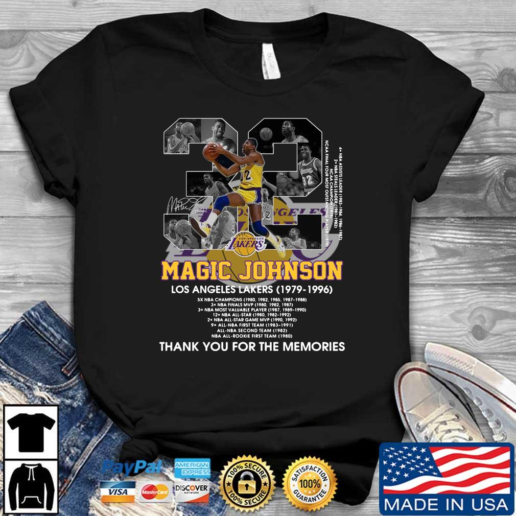 Magic Johnson 32 Los Angeles Lakers 1979-1996 thank you for the memories signature t-shirt