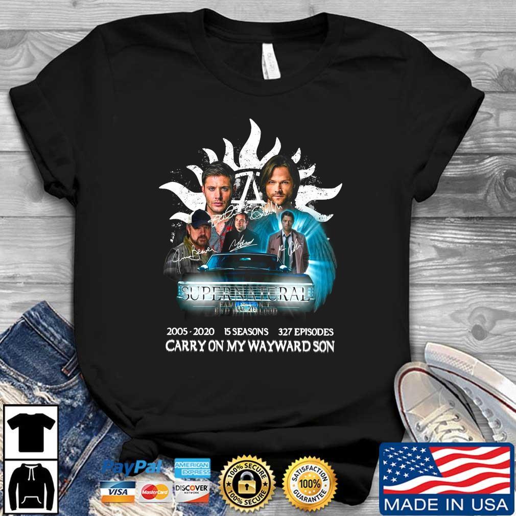 Supernatural 2005 2020 15 seasons 327 episodes carry on my wayward son signatures shirt