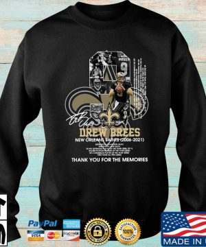 Official 9 Drew Brees New Orleans Saints 2006-2021 thank you for the memories signature s Sweater den