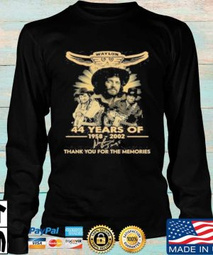 Official Waylon Jennings 44 Years Of 1958 2020 Signature Thank You For The Memories T-Shirt Longsleeve den