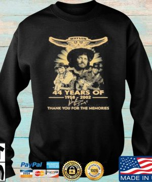 Official Waylon Jennings 44 Years Of 1958 2020 Signature Thank You For The Memories T-Shirt Sweater den